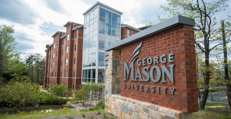 George Mason University sign near the Potomac Heights residence hall in the Shenandoah Neighborhood at the Fairfax Campus. Photo by Alexis Glenn/Creative Services/George Mason University